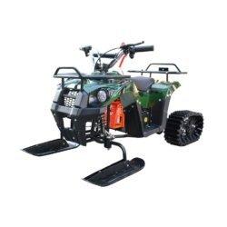 Детский снегоход Mini-Grizlik Snow (Снегоцикл) зеленый (до 30 км/ч, дисковые тормоза, до 60 кг)