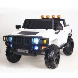 Электромобиль HUMMER A777MP белый  (колеса резина, кресло кожа, пульт, музыка)