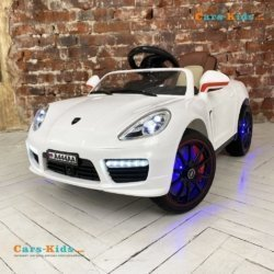 Электромобиль Porsche Panamera A444AA белый (колеса резина, кресло кожа, пульт, музыка)