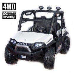 Электромобиль Baggy 3314 DLS02A белый (полный привод, резиновые колеса, кожаное кресло, пульт, музыка)